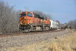 BNSF 6778 Swings the curve out of Gibbs Mo.