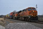 BNSF 7092 Heads up a Eastbound stack toward la plata mo.