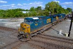 "CSX ""slab"" train: hauling steel slabs westbound at Marion, Ohio."