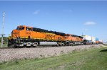 A Pair of Heritage III ES44ACs Heads up a Doublestack Train