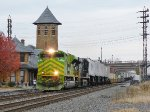 The Illinois Terminal Heritage Unit leads the 20K past the old Reading station