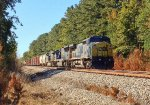 CSX C40-8W 7351, SD70MAC 4818, and ES40DC 5212