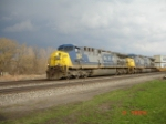 CSX 447 (AC4400CW) & CSX 248 (AC4400CW) head WB w/storm clouds in the background