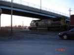 CSX 7908 (C40-8W) ducks under the Midler Ave. Bridge heading WB