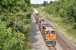 BNSF 6967 Drags a stack down hill near Elmer Mo.