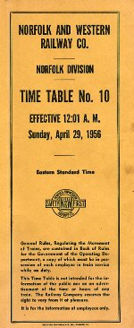 Front Cover N&W Ry. Co. Norfolk Division. Timetable No. 10. Effective Sunday, April 29, 1956.