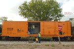 Restored insulated boxcar serves as the tool and supply center for Soo 1003's first ever visit to the Windy City