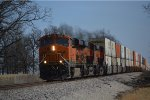 BNSF 7393 with wb stack train comes downgrade into aurora