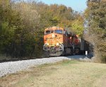 BNSF 5762 leads a loaded TVA coal train east by Milepost 537