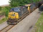 CSX 77 & 208 heading east with coal loads