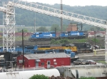 NS 3803 & 3810 roll down the hump as CSX's D746 passes on the other side of the Ohio River