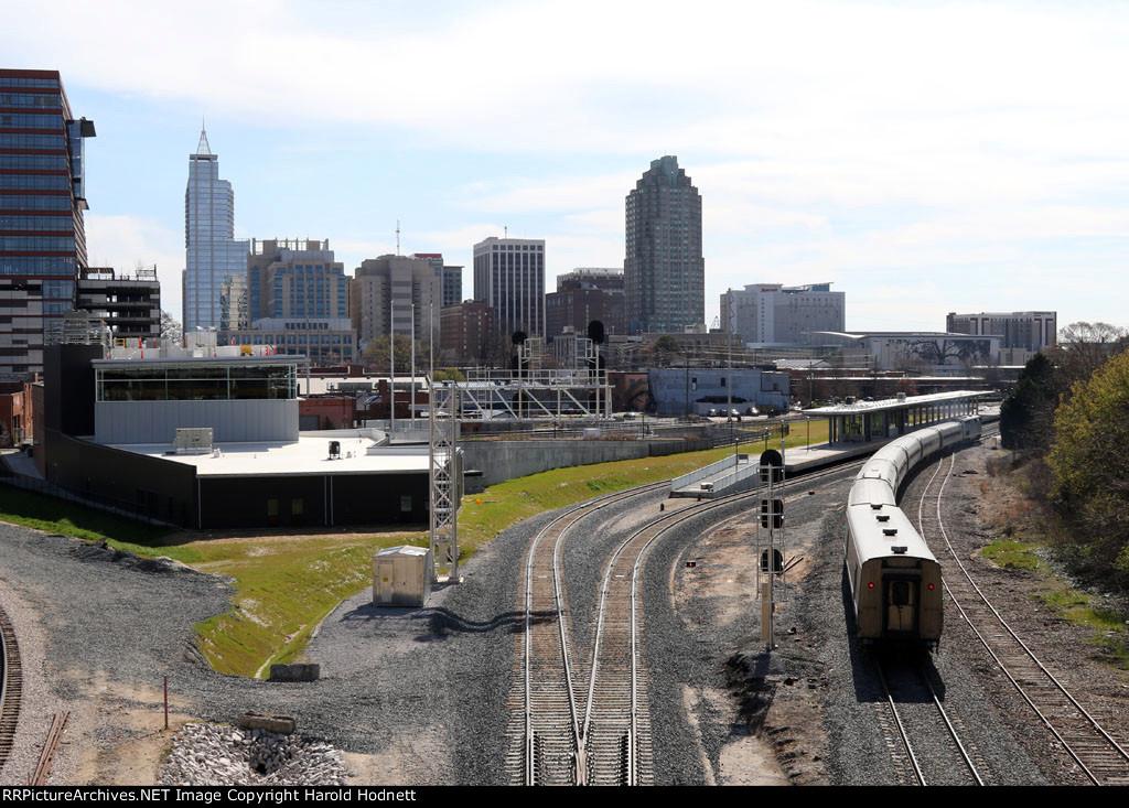 Amtrak train 80, the Carolinian, rolls into the old station