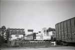 Carolina Southern locomotives pull a box car over the Intercoastal Waterway
