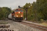 BNSF 4480 Races under a Santa Fe Cantilever in Eudora Ks.