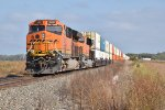 BNSF 3821 Shoves on a Eb stack train.