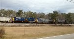 CSX C40-8W's 7785 and 7838, and B40-8 5941, lead covered hoppers