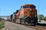 SB BNSF grain train w/ NS 2nd out