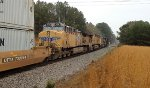 CSX 956 leads 245 and UP 7643 and 6031 to a stop