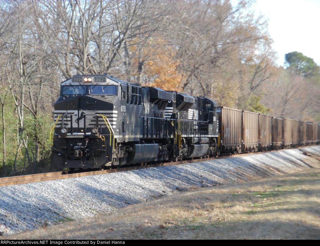 NS SD70ACe & an ES44AC work as DPU's on the rear of a loaded coal train