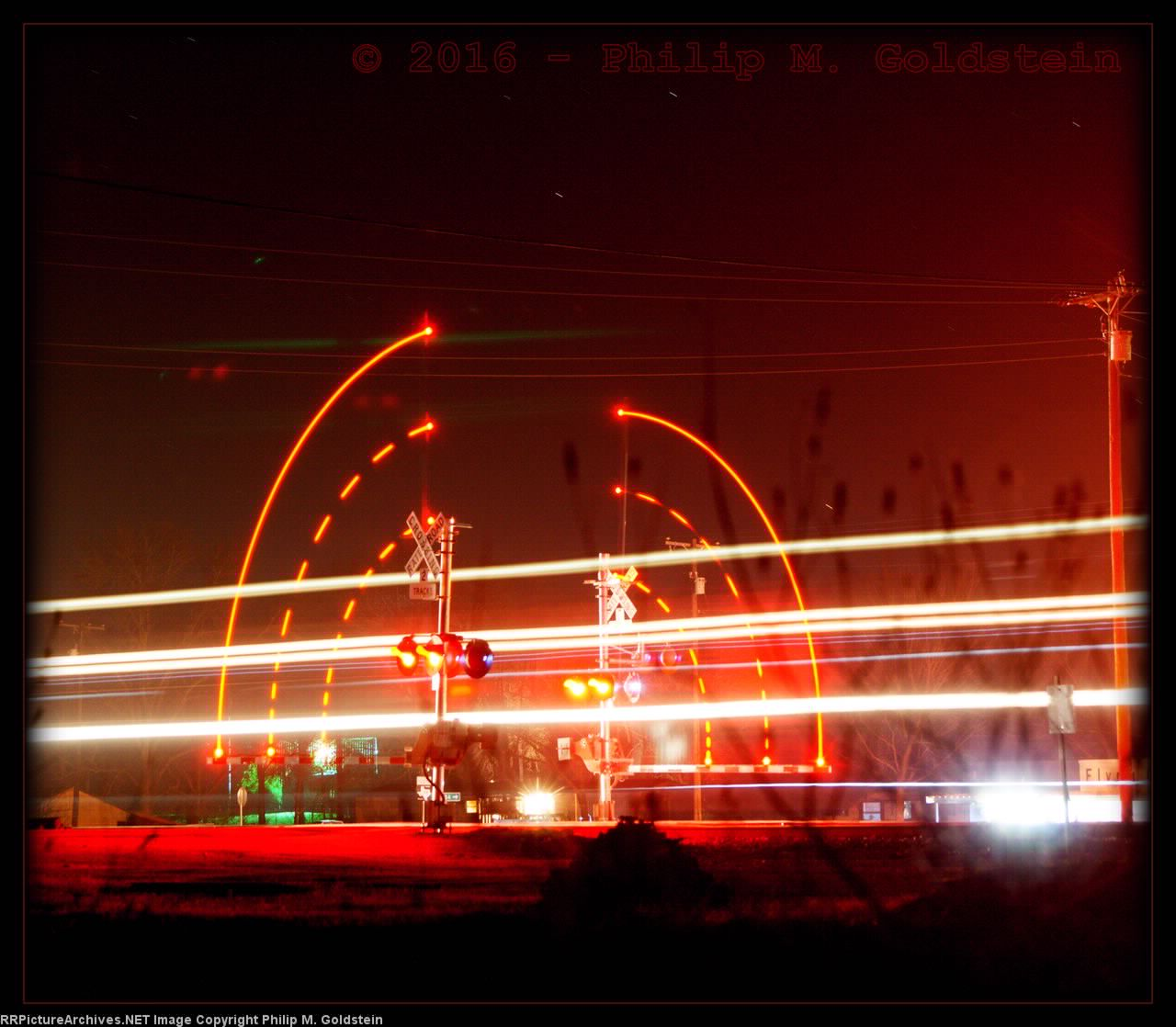 Crossing Gate & Headlight Trails