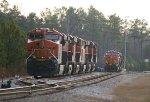 BNSF ES44C4 8082 leads a line of 6 units laying over for the Christmas and New Years break