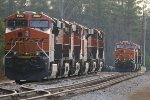 BNSF ES44C4's 8082 and 7098 head groups of 6 and 3 units laying over for the Christmas and New Years break