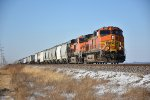 BNSF 4001 Drags a eastbound freight in the early morning.