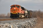 BNSF 8573 rolls north with an empty coal on the Hannibal Sub