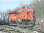 CN 2682 sits beside CN 4641, Formerly a BC Rail.