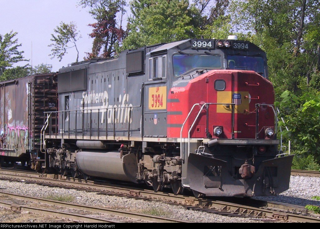 UP 3994 leads a MOW train