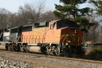 BNSF 113 leads train 214 towards the signals at Cox