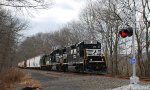 NS H76 aprroaches the Mill Pond grade crossing