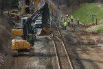 Process of straightening the existing main line now that there is no turnout begins