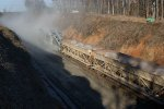 Business end of ballast train 90J delivers rock to realigned Main #1