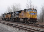 "BNSF 4893 leads a ""dogpack"" light engine move"