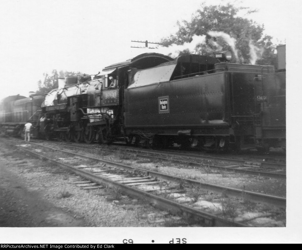 "CB&Q 4960 excursion   fall 1964-65?  Moving to the ""Y"""