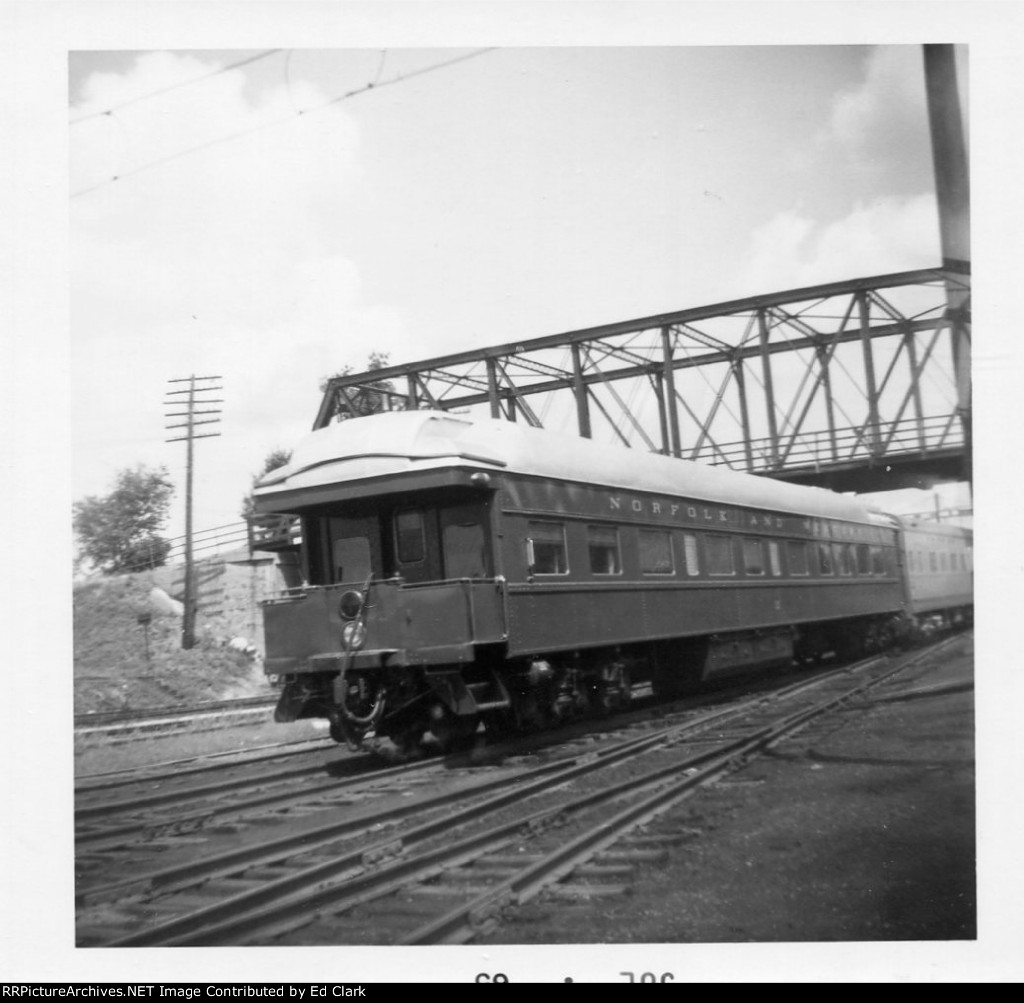 N&W business car attached to N&W train # 210 eastbound July 1965