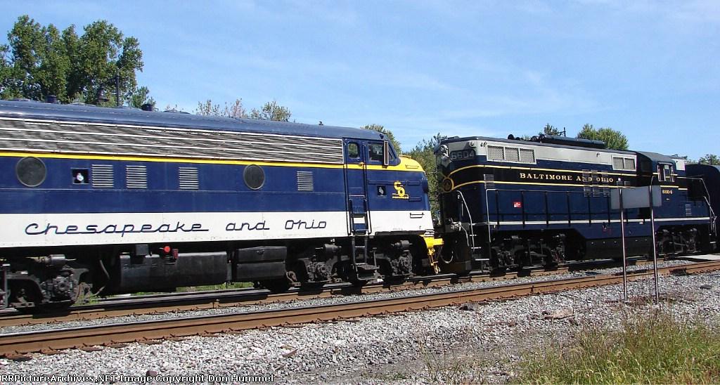 C&O F7A #8016 and B&O GP9