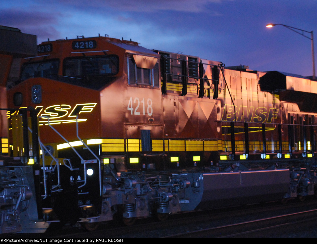 Close Up Shot of BNSF 4218 as She Heads into the Fading Light of Downtown Gallup, New Mexico with Her Sister BNSF 4206 behind Her!!!