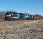 Westbound coal empties with Conrail heritage unit