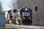 NS 2525 and 470 clatter along the jointed rail of the siding