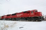 CP 6234 crossing Ontario Street in a scene much more typical of February in Wisconsin than last Tuesday!