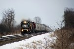 NS 6336 rumbles toward O'Conner Road on the point of sand empties train 681