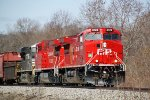 CP 8128 leads similarly shiny rebuilt sister 8121 and an NS motor with eastbound manifest 280