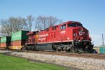 CP 8004 leads eastbound intermodal train 198