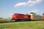 CP 8135 screams past MP 146 with WB autorack/intermodal train 199