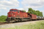 CP 9648 is rear DPU on eastbound oil train 580 just past Tamarack