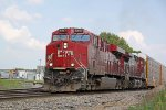 CP 8947 accelerates out of town with westbound autorack/intermodal train 199