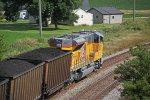 Shiny new UP 3057 does DPU duty on the detoured coal loads