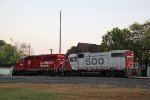 G77 power idles in the yard just after sunrise